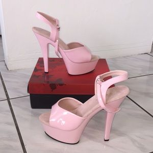 "eeb6e085e825 Pleaser Shoes - Pleaser Kiss 6"" Platforms Baby Pink"